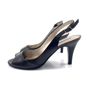 BANDOLINO black leather peep toe sling back heels